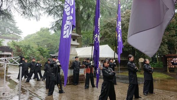 下妻第一高等学校爲櫻應援團の団員達 団旗のお披露目